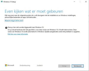 WIndows 10 1905 Mei update fout